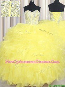 Vintage Sweetheart Sleeveless Organza Quinceanera Gowns Beading and Ruffles Lace Up