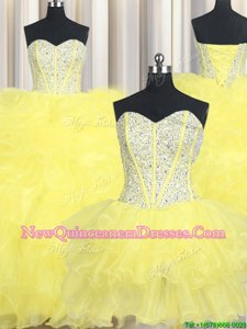 Smart Three Piece Yellow Sleeveless Floor Length Beading and Ruffles Lace Up 15 Quinceanera Dress