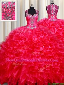 Flirting Straps Straps Sleeveless Beading and Ruffles Zipper Quinceanera Dress