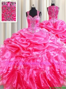 Elegant Hot Pink Ball Gowns Organza Straps Sleeveless Beading and Ruffles and Pick Ups Floor Length Zipper 15 Quinceanera Dress