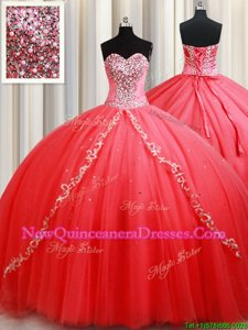 Custom Designed Floor Length Coral Red Quinceanera Dress Sweetheart Sleeveless Lace Up
