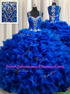High Quality Ball Gowns Quinceanera Dress Royal Blue Straps Organza Sleeveless Floor Length Lace Up