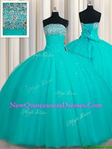 Captivating Aqua Blue Strapless Neckline Beading and Sequins Ball Gown Prom Dress Sleeveless Lace Up