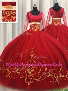 New Arrival Square Red Long Sleeves Beading and Embroidery Floor Length Sweet 16 Dress