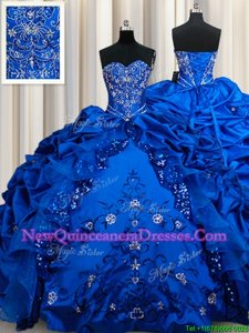 Dazzling Sequins Pick Ups Floor Length Ball Gowns Sleeveless Royal Blue Quinceanera Dresses Lace Up