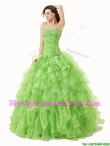 High Class Spring Green Sweet 16 Quinceanera Dress Military Ball and Sweet 16 and Quinceanera and For withBeading and Ruffles Sweetheart Sleeveless Lace Up