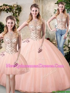 Smart Scoop Sleeveless Beading Lace Up Sweet 16 Dress