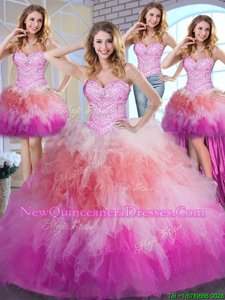Low Price Four Piece Multi-color Ball Gowns Tulle Sweetheart Sleeveless Beading and Ruffles Floor Length Lace Up Quinceanera Gowns