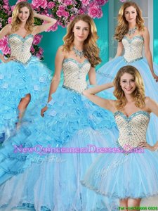 Sexy Four Piece Sleeveless Organza With Brush Train Lace Up Sweet 16 Dress inBaby Blue withBeading and Ruffles