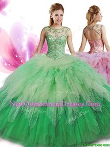 Cute Scoop Sleeveless Zipper Floor Length Beading and Ruffles Quinceanera Gown