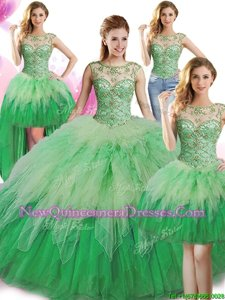 Elegant Four Piece Scoop Sleeveless Tulle Floor Length Lace Up Quinceanera Gown inGreen withBeading and Ruffles