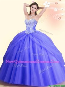 Trendy Spring and Summer and Fall and Winter Tulle Sleeveless Floor Length Quinceanera Dress andBeading