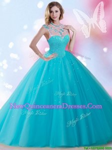Fashion Aqua Blue Tulle Zipper Quinceanera Gown Sleeveless Floor Length Beading and Sequins