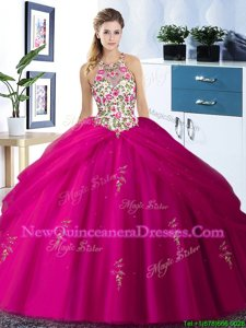 Halter Top Sleeveless Floor Length Embroidery and Pick Ups Lace Up 15 Quinceanera Dress with Fuchsia