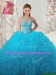 Suitable Scoop Sleeveless Floor Length Beading and Ruffles Lace Up 15 Quinceanera Dress with Baby Blue