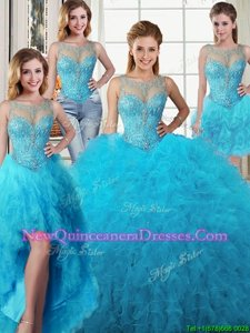 Smart Four Piece Scoop Baby Blue Sleeveless Tulle Lace Up 15 Quinceanera Dress for Military Ball and Sweet 16 and Quinceanera