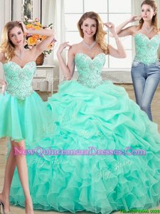 Artistic Three Piece Apple Green Sweetheart Lace Up Beading and Ruffles and Pick Ups Quinceanera Dresses Sleeveless