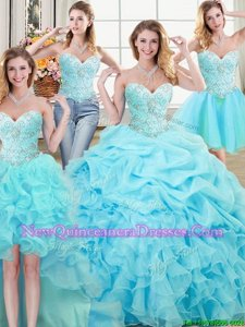 Flare Four Piece Sleeveless Organza Floor Length Lace Up Quinceanera Gown inAqua Blue withBeading and Ruffles and Pick Ups