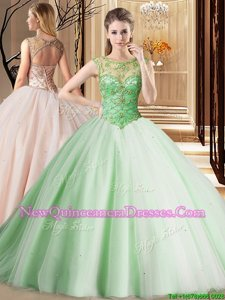 Dynamic Spring Green Tulle Lace Up Scoop Sleeveless Sweet 16 Quinceanera Dress Brush Train Beading