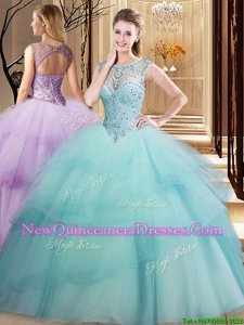 Super Light Blue Scoop Lace Up Beading and Ruffled Layers Sweet 16 Dresses Brush Train Sleeveless