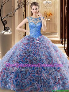 Top Selling Blue Fabric With Rolling Flowers Lace Up Scoop Sleeveless Quinceanera Gowns Brush Train Beading