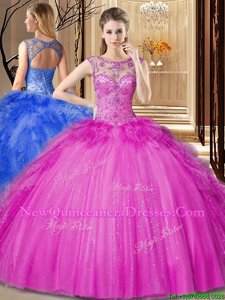 Ball Gowns Quinceanera Gowns Hot Pink Scoop Tulle Sleeveless Floor Length Lace Up