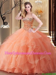 New Arrival Spring and Summer and Fall and Winter Tulle Sleeveless Floor Length 15th Birthday Dress andBeading