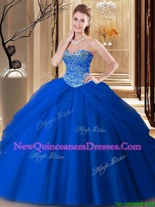 Custom Designed Sweetheart Sleeveless Quinceanera Gowns Floor Length Beading Royal Blue Tulle