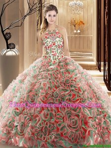 Affordable Multi-color Sleeveless Fabric With Rolling Flowers Brush Train Criss Cross Quinceanera Dresses for Military Ball and Sweet 16 and Quinceanera