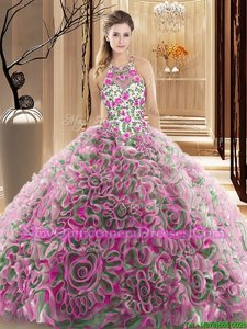 Lovely Ruffles and Pattern Vestidos de Quinceanera Multi-color Criss Cross Sleeveless Brush Train