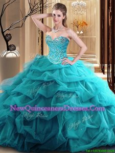 Eye-catching Teal Tulle Zipper Sweetheart Sleeveless Floor Length Quinceanera Gown Beading and Ruffles