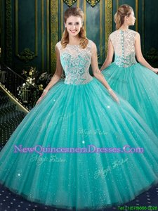 Exquisite Ball Gowns Quinceanera Gown Aqua Blue High-neck Tulle Sleeveless Floor Length Zipper