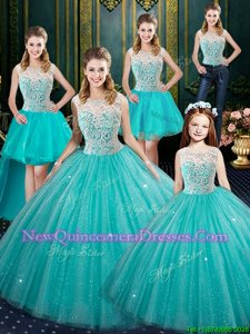 Fancy Aqua Blue Ball Gowns Lace Quinceanera Dresses Lace Up Tulle Sleeveless Floor Length