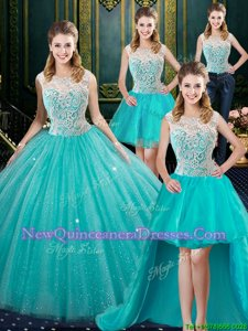 Exceptional Four Piece High-neck Sleeveless Quinceanera Gowns Floor Length Lace Aqua Blue Tulle
