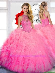 Fine Spring and Summer and Fall and Winter Tulle Sleeveless Floor Length 15 Quinceanera Dress andBeading