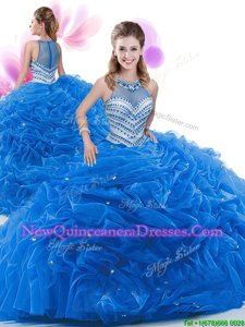 Fashionable Royal Blue Zipper Ruffles Sweet 16 Quinceanera Dress Organza Sleeveless Court Train