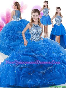 Romantic Four Piece Royal Blue High-neck Neckline Beading and Pick Ups Quince Ball Gowns Sleeveless Zipper