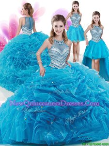 Amazing Four Piece Spring and Summer and Fall Organza Sleeveless With Train Sweet 16 Dress Court Train andRuffles and Pick Ups