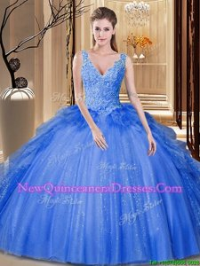 Noble Sequins and Pick Ups Quinceanera Gown Royal Blue Backless Sleeveless Floor Length