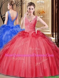 Cute Red V-neck Backless Appliques and Sequins and Pick Ups Sweet 16 Quinceanera Dress Sleeveless