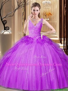 Appliques and Ruffles and Sequins Sweet 16 Dress Purple Backless Sleeveless Floor Length