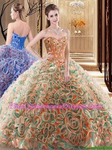 Captivating Multi-color Sleeveless Brush Train Embroidery and Ruffles With Train Quinceanera Gowns