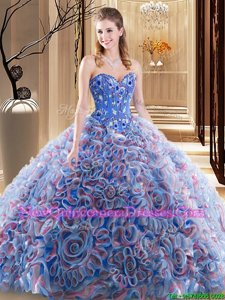 Stunning Sweetheart Sleeveless Sweet 16 Quinceanera Dress With Brush Train Embroidery and Ruffles Lavender Fabric With Rolling Flowers