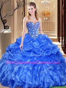 Luxury Royal Blue Sleeveless Organza Lace Up Sweet 16 Dress for Military Ball and Sweet 16 and Quinceanera