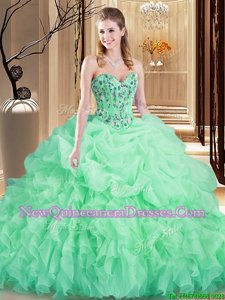 Artistic Sweetheart Sleeveless Quinceanera Gown Brush Train Embroidery and Ruffles Apple Green Organza