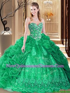 Dazzling Pick Ups Sweetheart Sleeveless Court Train Lace Up Sweet 16 Dress Green Organza