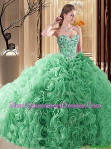 Sweet Spring Green Ball Gowns Sweetheart Sleeveless Fabric With Rolling Flowers Court Train Lace Up Embroidery and Ruffles 15th Birthday Dress
