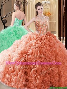 Pretty Orange Lace Up Sweetheart Embroidery and Ruffles Sweet 16 Quinceanera Dress Fabric With Rolling Flowers Sleeveless