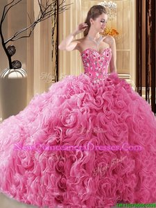 Superior Embroidery and Ruffles and Pick Ups Sweet 16 Dress Rose Pink Lace Up Sleeveless Floor Length