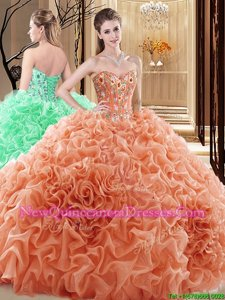 Delicate Embroidery and Ruffles and Pick Ups Ball Gown Prom Dress Orange Lace Up Sleeveless Floor Length